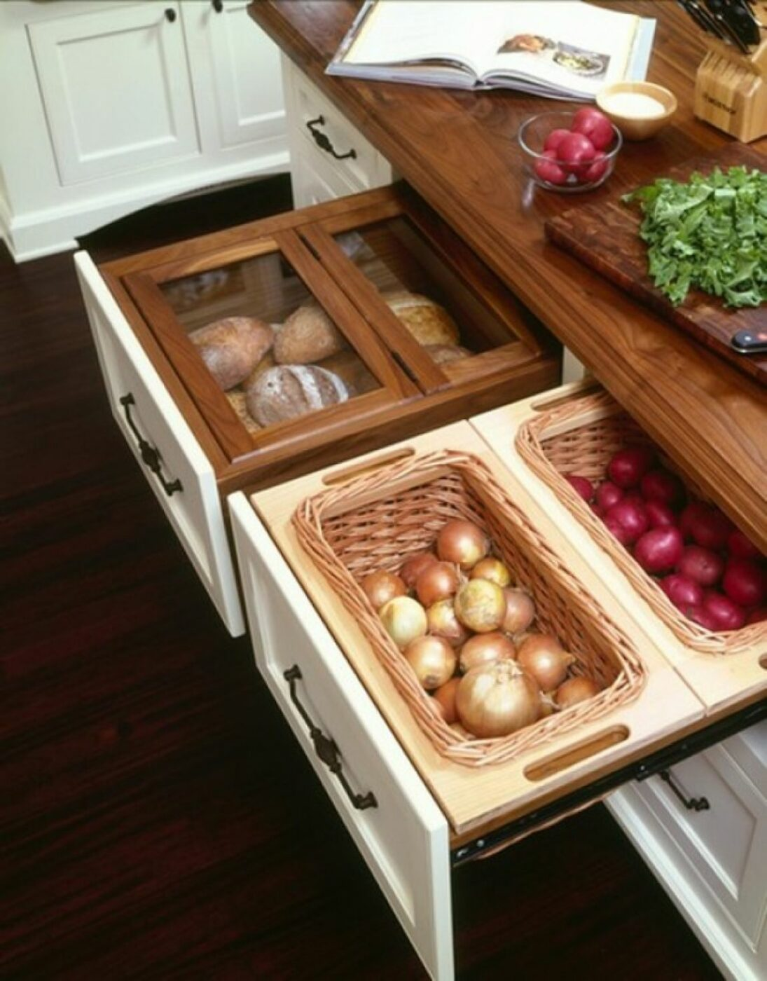 Cut Out Slots in Drawers for Hanging Fruit/ Vegetable Baskets