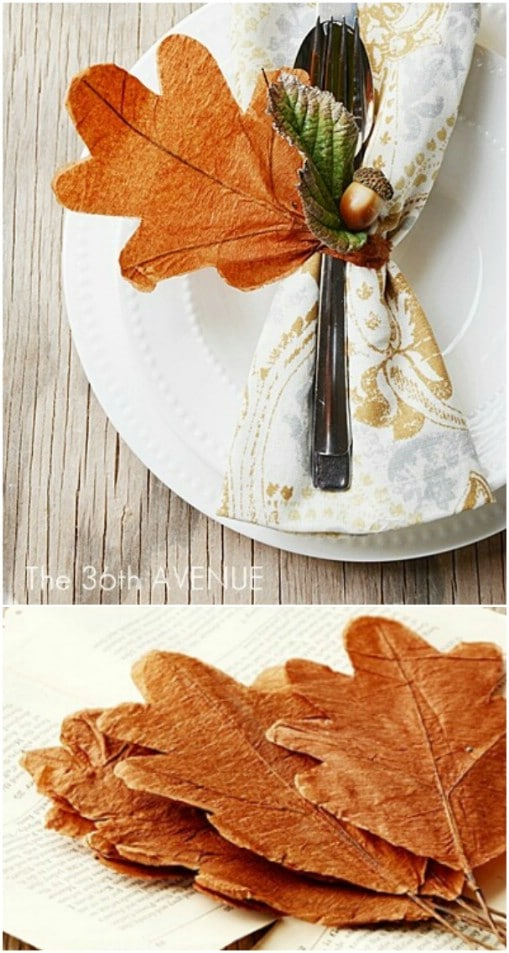 Easy Paper Leaf And Acorn Napkin Rings