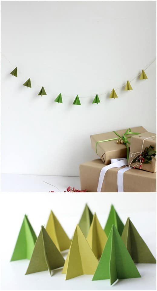Three Dimensional Paper Christmas Tree Garland