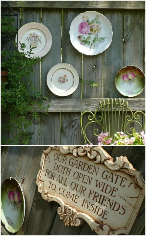 Repurposed Plate Fence Décor