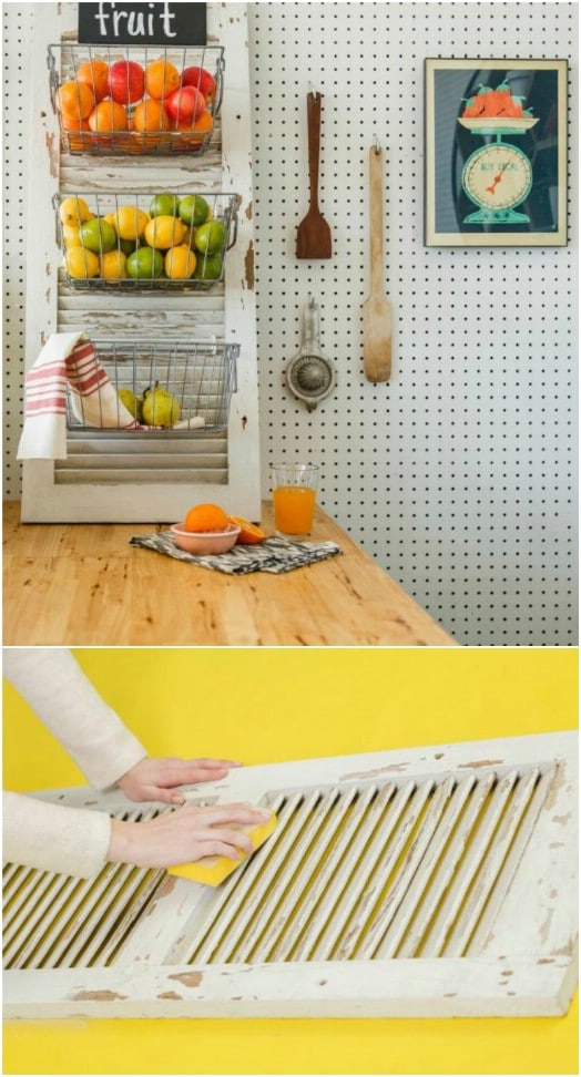 Upcycled Shutter Produce Bins