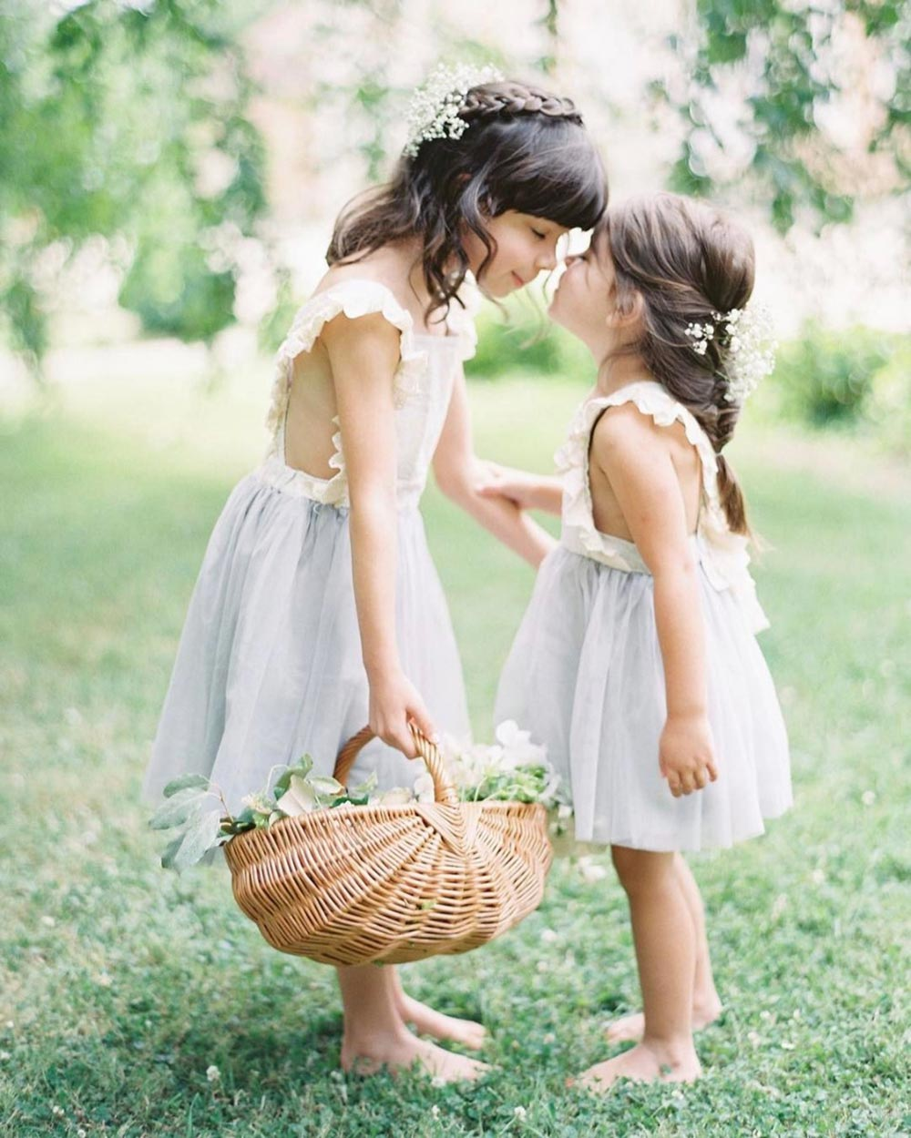 ruffled sleeve flower girl dresses with blue tulle skirt