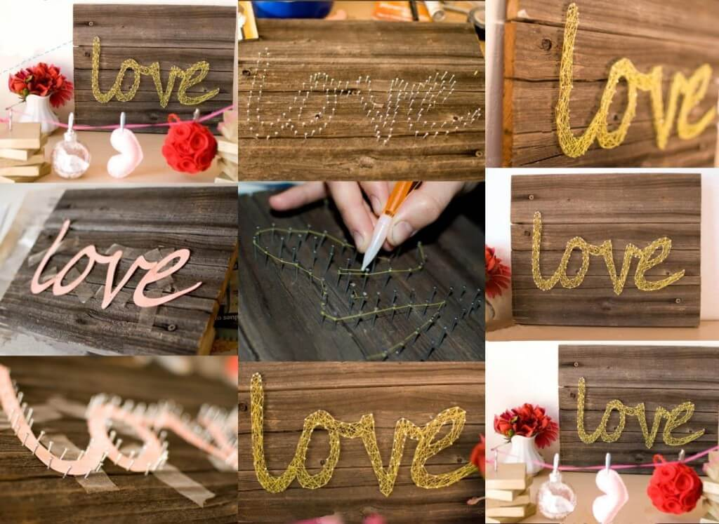 Cursive Love Entwined String Art