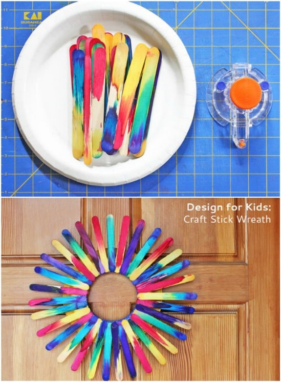 Colorful DIY Craft Stick Wreath