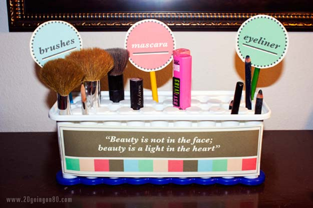 DIY Makeup Organizing Ideas - Ice Cube Tray Makeup Holder - Projects for Makeup Drawer, Box, Storage, Jars and Wall Displays - Cheap Dollar Tree Ideas with Cardboard and Shoebox - Wood Organizers, Tray and Travel Carriers http://diyprojectsforteens.com/diy-makeup-organizing