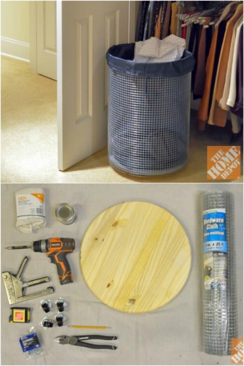 DIY Pine And Wire Laundry Basket