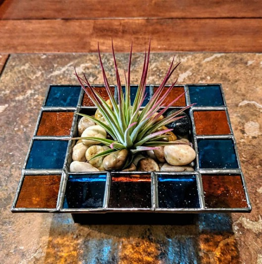 Stained Glass Patio Tabletop Planter