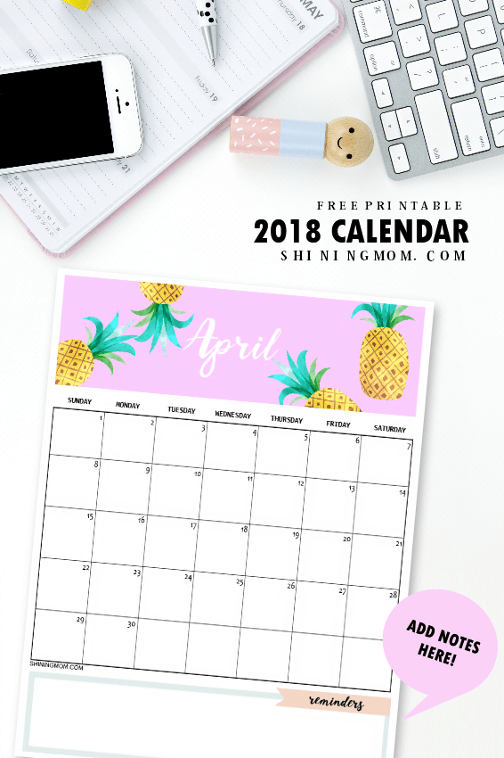 16 DIY Organization Projects: 2018 Free Printable Calendars (Part 2) - Free Printable Calendars, diy organization projects, DIY Organization Ideas, 2018 Free Printable Calendars