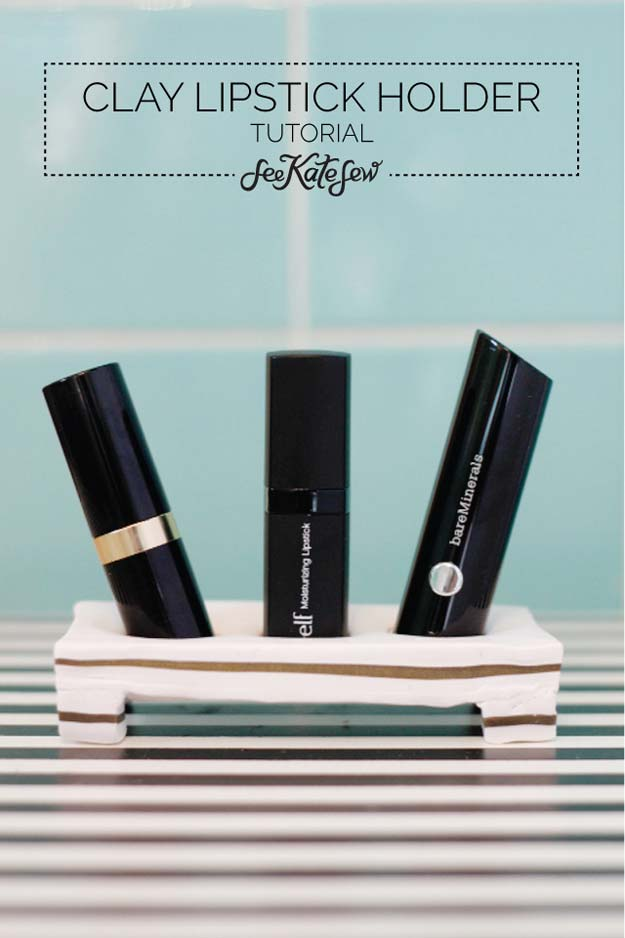 DIY Makeup Organizing Ideas - Clay Lipstick Holder - Projects for Makeup Drawer, Box, Storage, Jars and Wall Displays - Cheap Dollar Tree Ideas with Cardboard and Shoebox - Wood Organizers, Tray and Travel Carriers http://diyprojectsforteens.com/diy-makeup-organizing