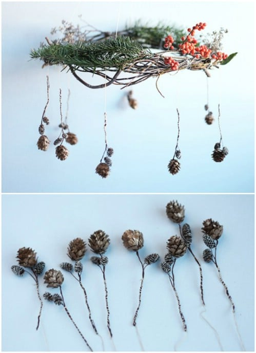 Fall Themed Pinecone Chandelier