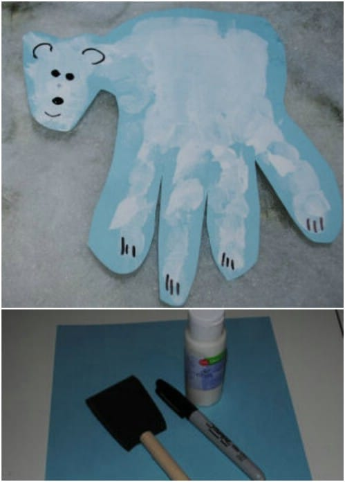 Handprint Polar Bear Craft