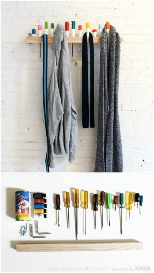 Recycled Tool Coat Rack