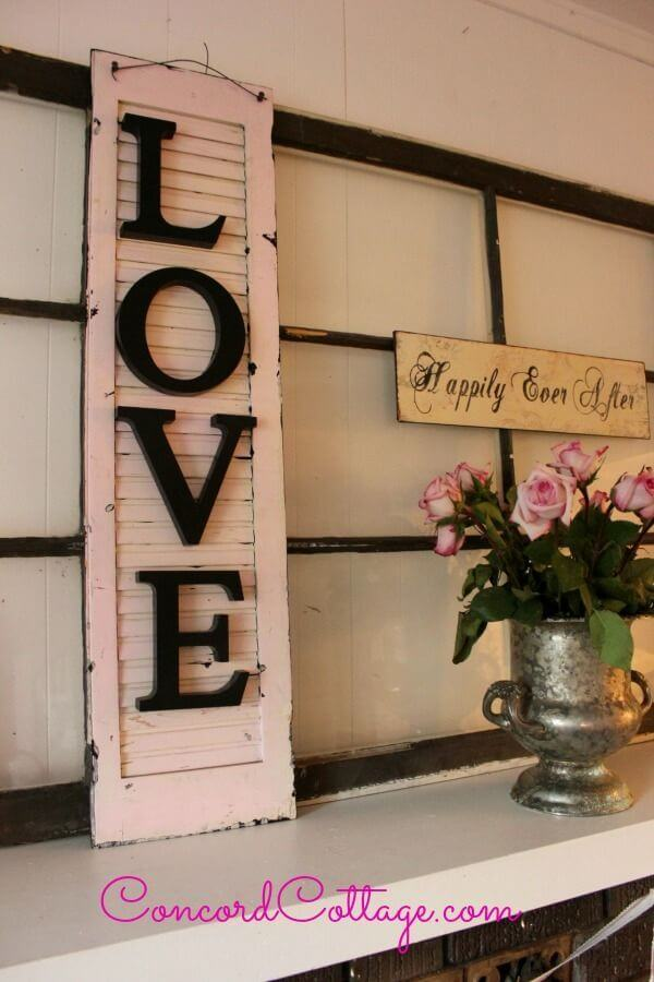 Shabby Chic Shutter Sign Valentine's Day Decoration
