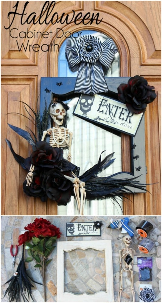Reclaimed Wooden Door Halloween Wreath - 25 Fantastic Reclaimed Wood Halloween Decorations For Your Home And Garden
