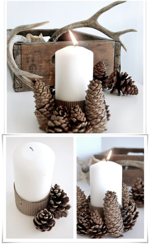Upcycled Cardboard And Pinecone Candleholder