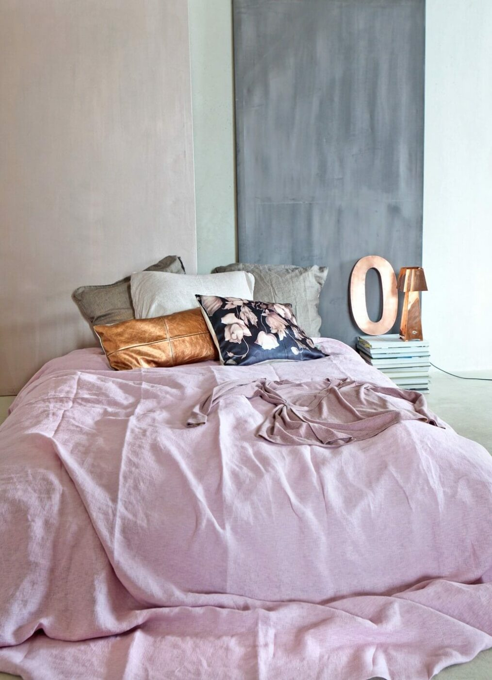 Slates Of Gray Rustic Bedroom With Blush Duvet
