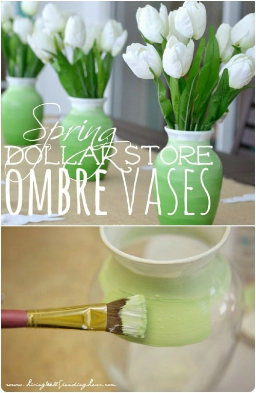Cheap And Easy Dollar Store Ombre Vases