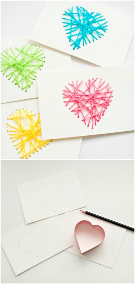 DIY String Heart Yarn Card