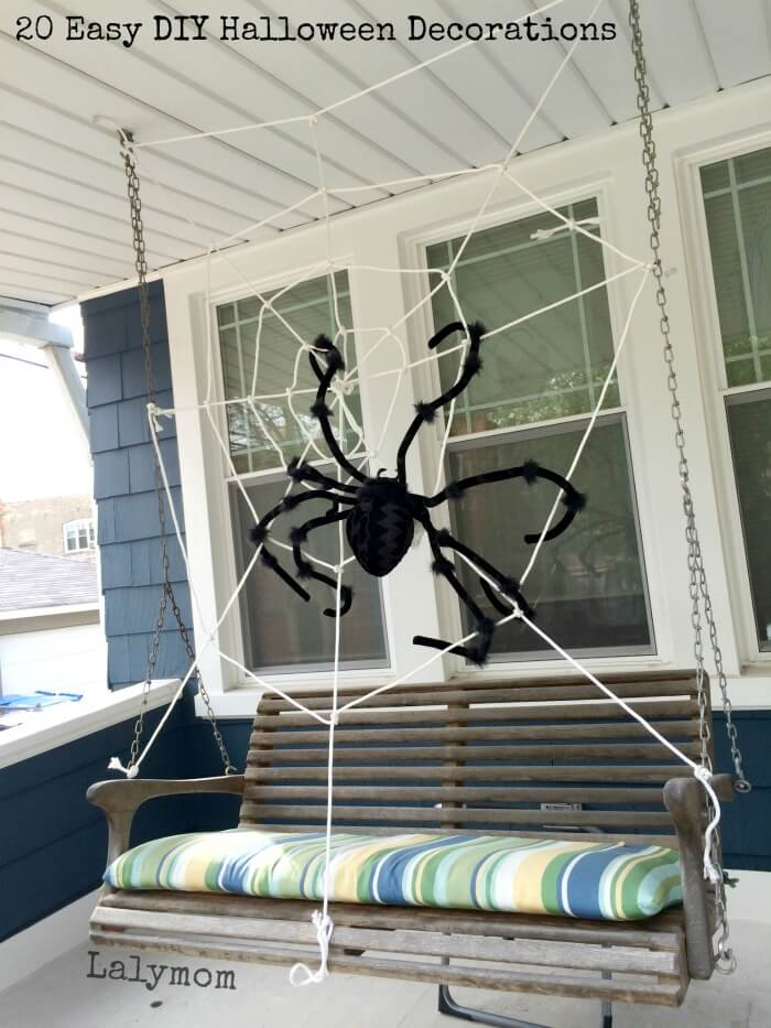 Spider on the Swing | Scary DIY Halloween Porch Decoration Ideas | vintage halloween porch