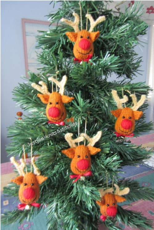 Whimsical Face Reindeer Crochet Ornaments