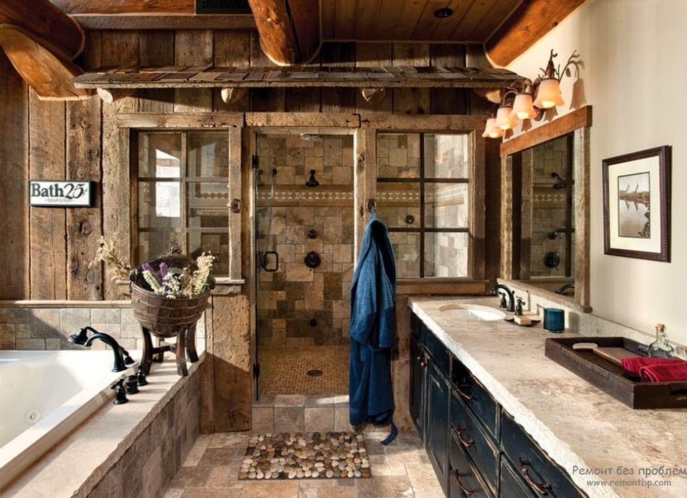 Mixed Stone Cabin Bathroom with Walk-in Shower