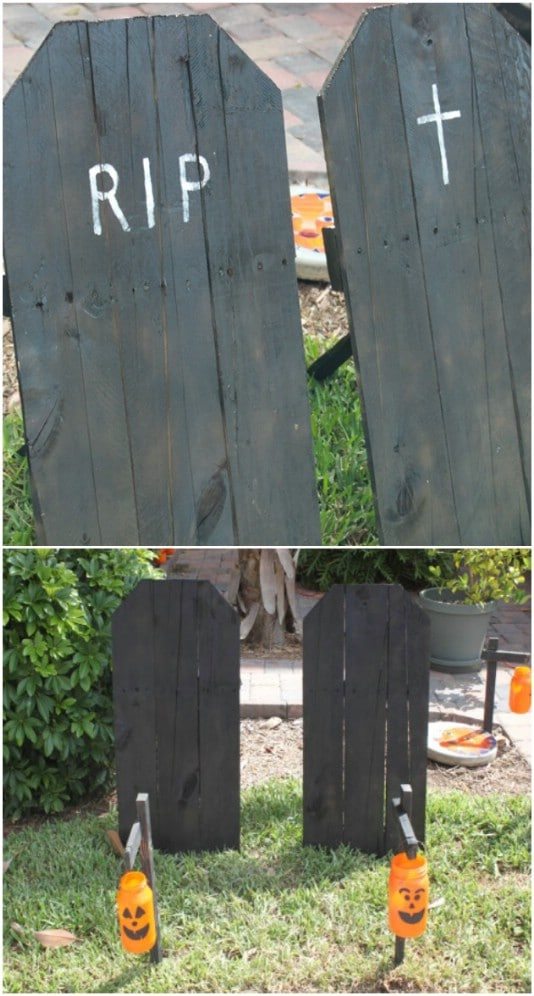 Upcycled Wooden Tombstones - 25 Fantastic Reclaimed Wood Halloween Decorations For Your Home And Garden