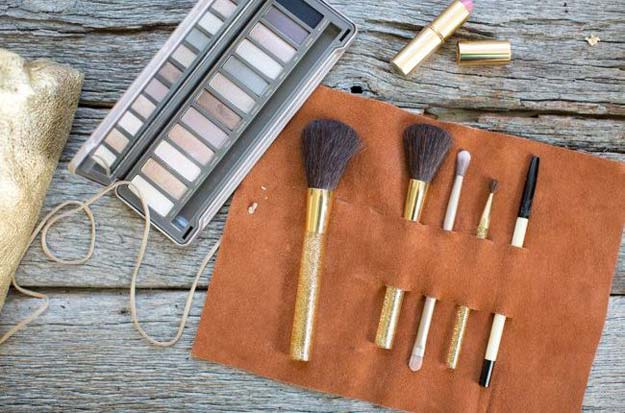 DIY Makeup Organizing Ideas - Leather Brush Holder - Projects for Makeup Drawer, Box, Storage, Jars and Wall Displays - Cheap Dollar Tree Ideas with Cardboard and Shoebox - Wood Organizers, Tray and Travel Carriers http://diyprojectsforteens.com/diy-makeup-organizing