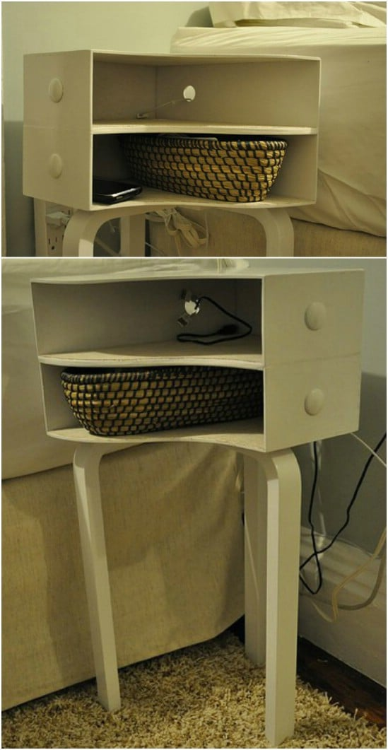 Easy DIY Nightstand From Magazine Holders