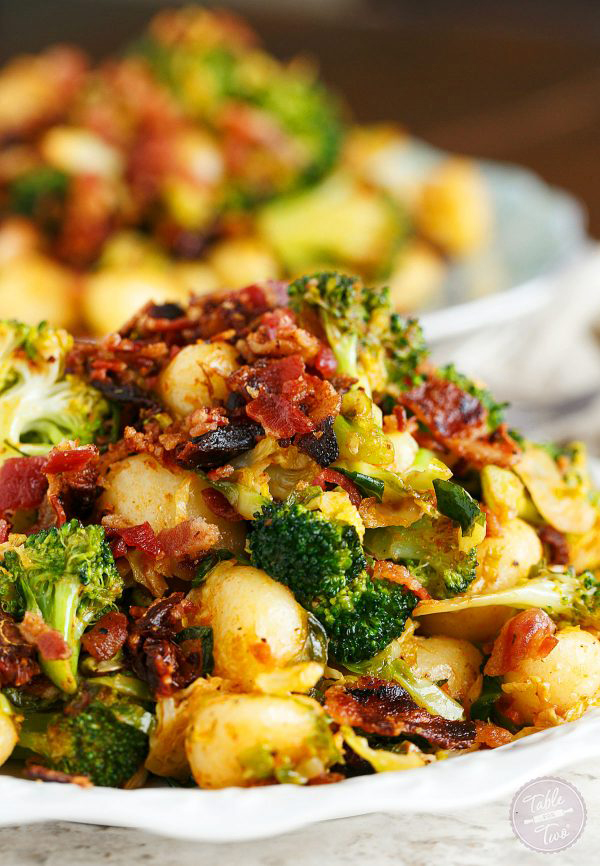 25 Minute Bacon Gnocchi With Broccoli and Shaved Brussel Sprouts | 25+ Brussels Sprout Recipes