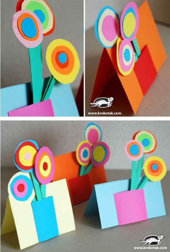 Easy Construction Paper Flower Card