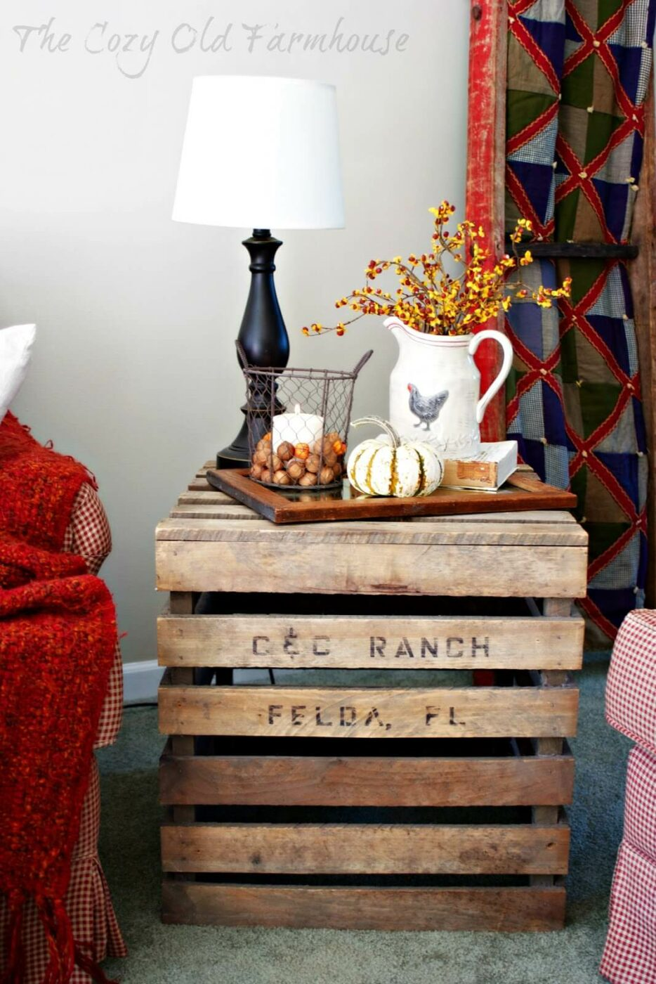 Upend a Crate for a Perfect Fall Display End Table