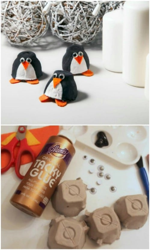 Cute Egg Carton Penguins
