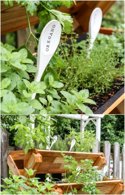 Repurposed Wooden Spoon Plant Markers