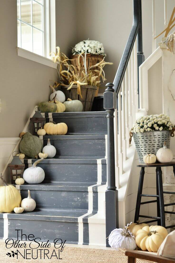 Stairs are the Perfect Stage for a Décor to Celebrate Fall