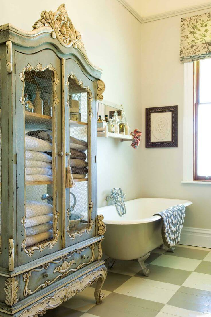 Upcycled Armoire Bathroom Linen Closet