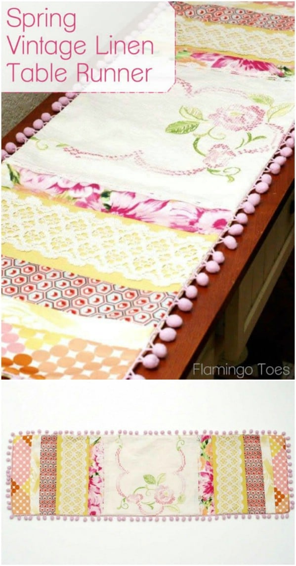 Upcycled Sheet Into Table Runner