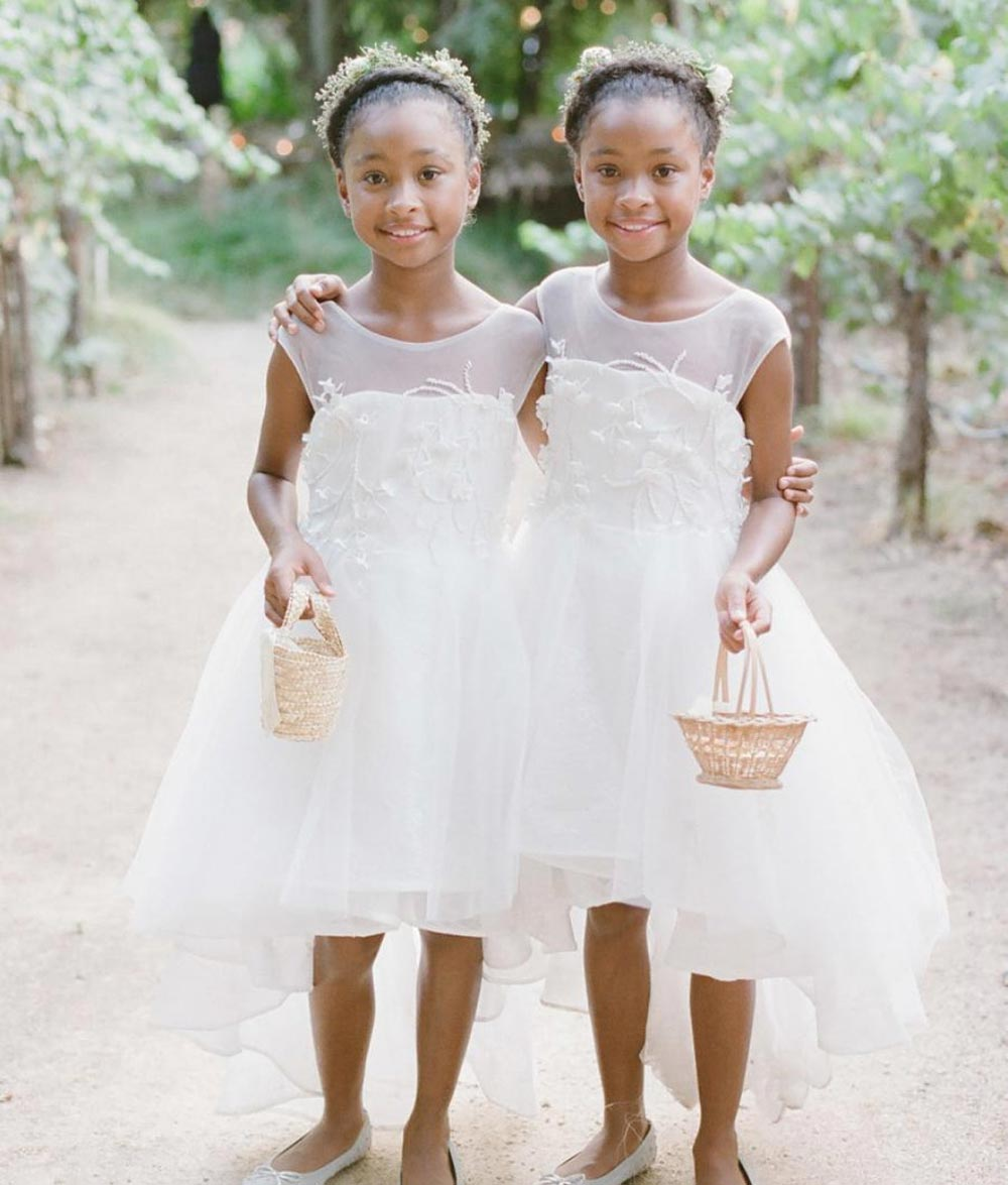 illusion neckline tulle flower girl dresses