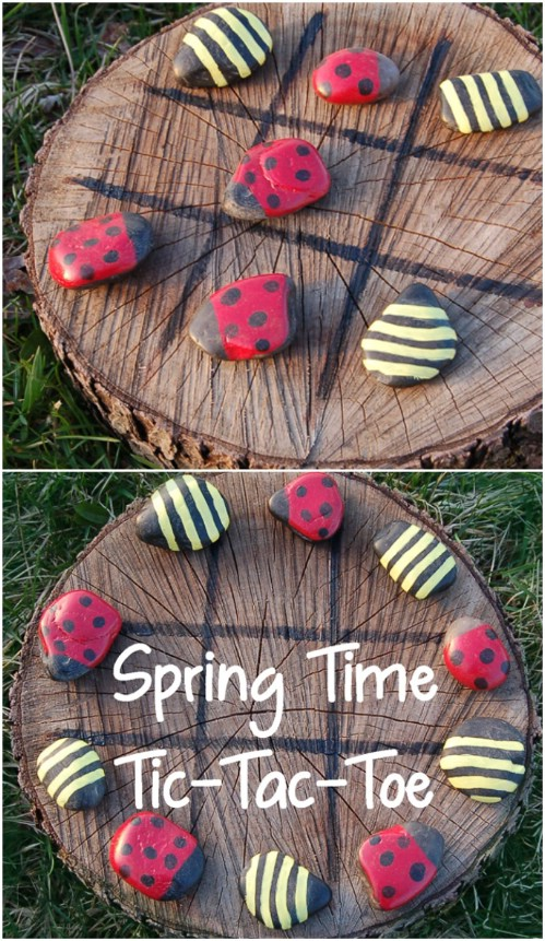 Upcycled Wood And Stone Tic-Tac-Toe