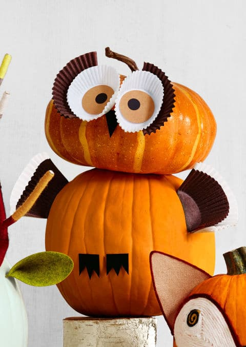 27. Owl Pumpkin with Cupcake Liners