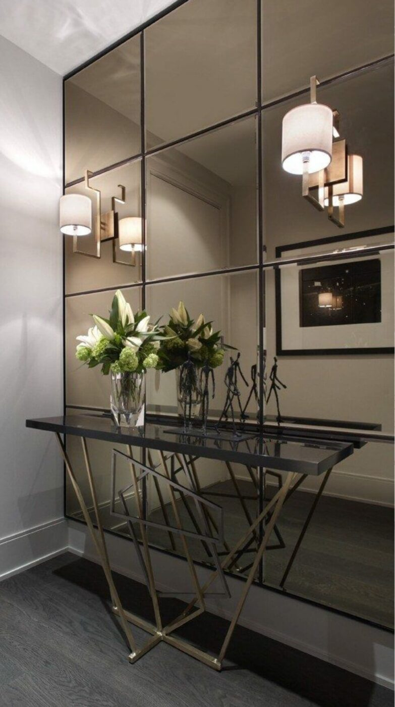 Smokey Mirror Wall for a Contemporary Entryway
