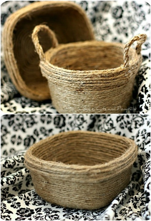 Repurposed Twine Food Storage Containers