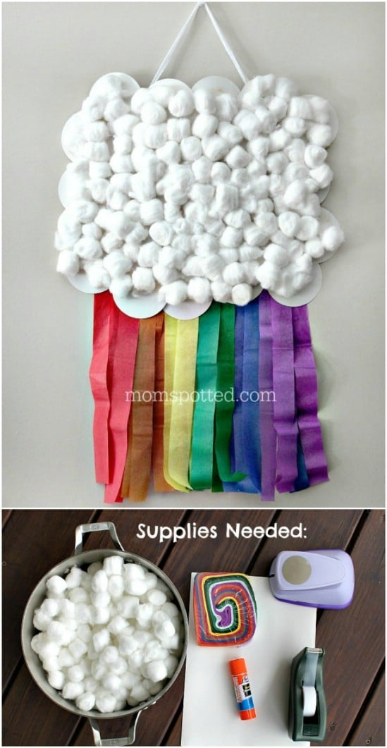 Rainbow Cloud Wall Flag