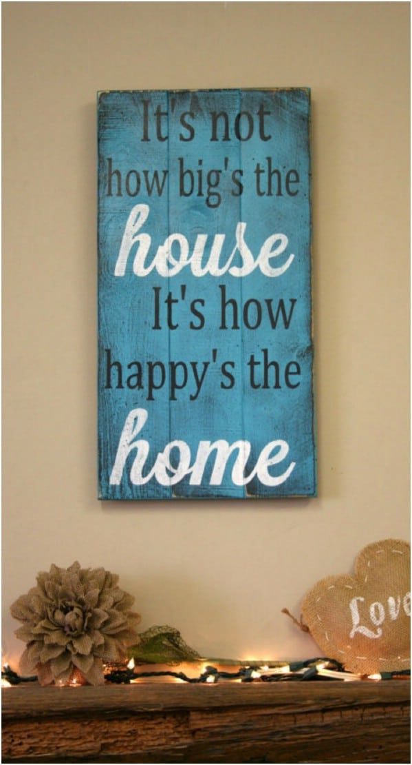 Distressed Happy Home Sign
