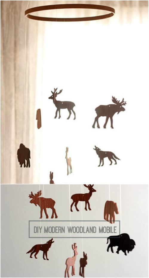 Wooden Woodland Creatures Mobile