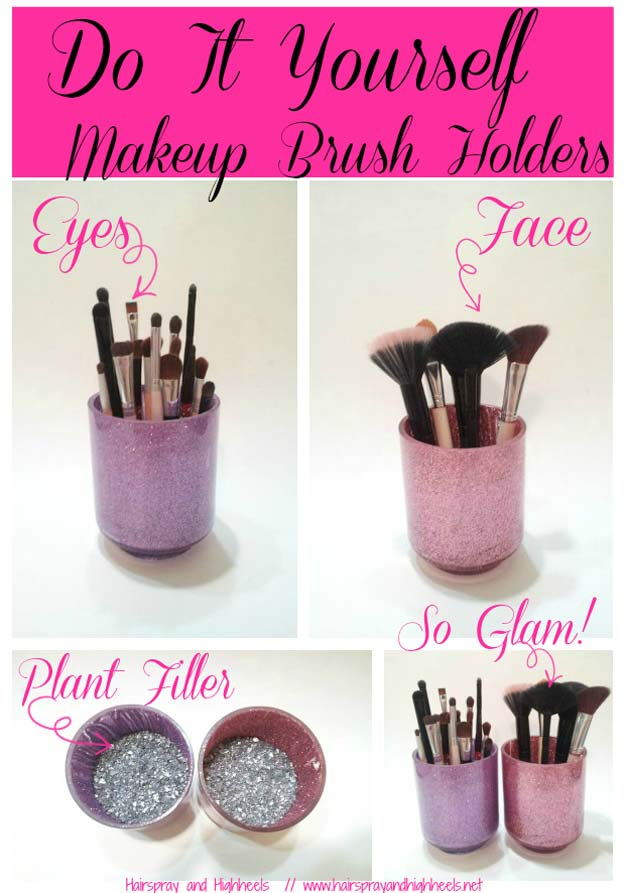 DIY Makeup Organizing Ideas - Makeup Brush Holders - Projects for Makeup Drawer, Box, Storage, Jars and Wall Displays - Cheap Dollar Tree Ideas with Cardboard and Shoebox - Wood Organizers, Tray and Travel Carriers http://diyprojectsforteens.com/diy-makeup-organizing