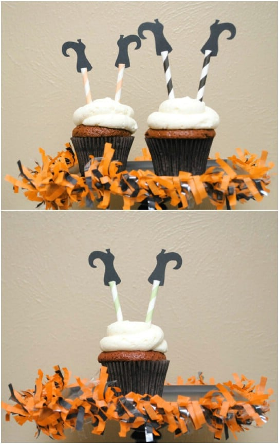 Funny Witch's Leg Cupcakes