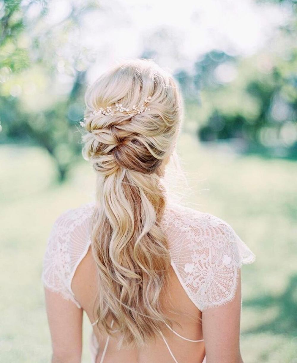 half up half down wedding day hair