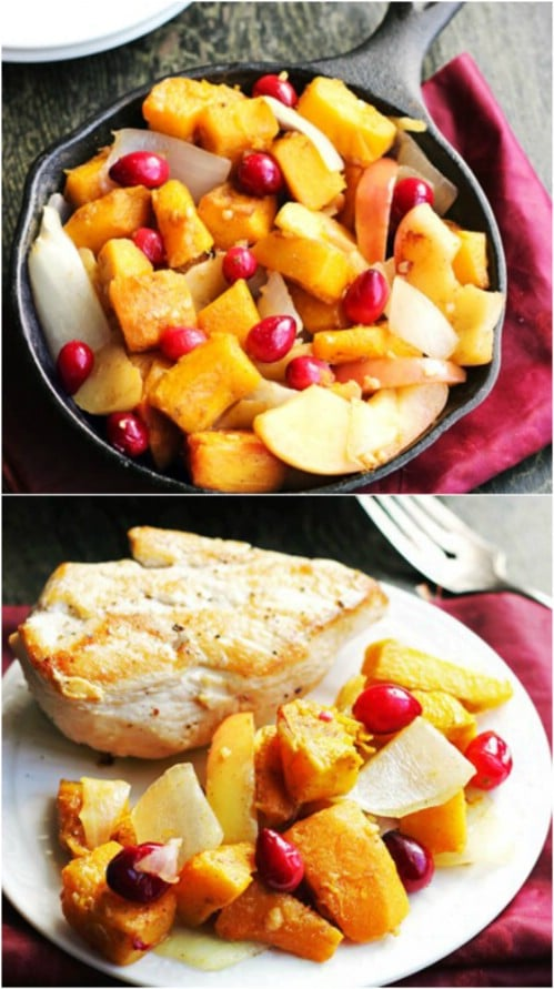 Roasted Pumpkin With Maple Syrup And Apples