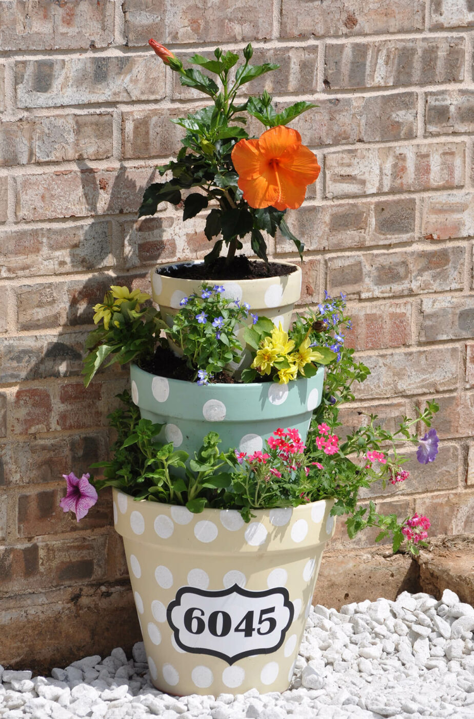 Tiered Flower Pot House Number Decoration