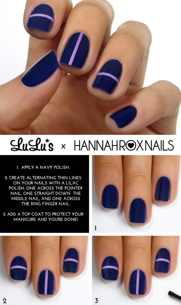 Cool Nail Art Ideas -Easy Navy Blue Stripe Nail Polish Design Ideas- Candy Coat Stars and Stripes Nail Design Tutorial - Easy Nail Art Tutorials - Fun and Easy DIY Nail Designs - Step By Step Tutorials and Instructions for Manicures at Home